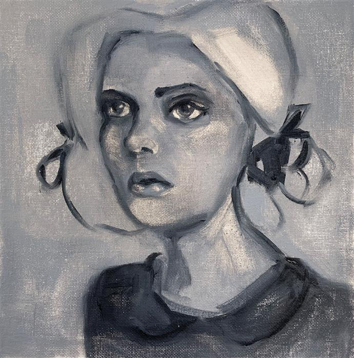 Original art for sale at UGallery.com | Penelope, 1904 (in greyscale) by MALIA PETTIT | $400 |  | 8' h x 8' w | ..\art\oil-painting-Penelope-1904-in-greyscale