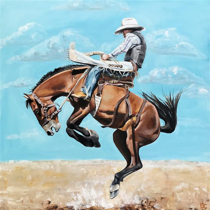 Original art for sale at UGallery.com | Roughstock Ride by ALANA CLUMECK | $2,000 |  | 36' h x 36' w | ..\art\acrylic-painting-Roughstock-Ride