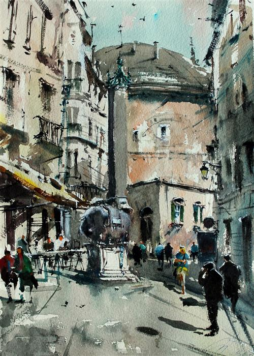 Original art for sale at UGallery.com | Toward the Rear of the Pantheon by Maximilian Damico | $600 | watercolor painting | 15' h x 11' w | ..\art\watercolor-painting-Toward-the-Rear-of-the-Pantheon