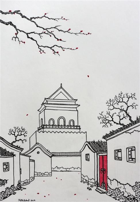 Original art for sale at UGallery.com | Old Memory No.2 by Yuan Hua Jia | $650 | drawing artwork | 15' h x 11.8' w | ..\art\drawing-artwork-Old-Memory-No-2