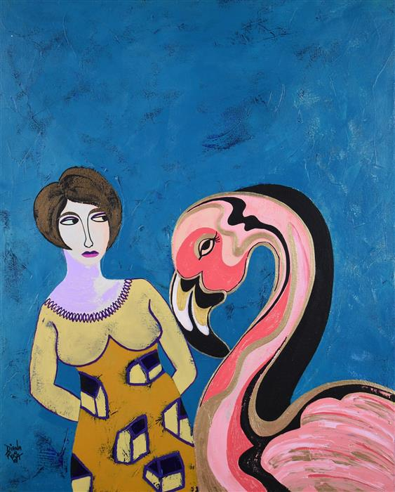 Original art for sale at UGallery.com | Pink Visitor by Diana Rosa | $950 | acrylic painting | 20' h x 16' w | ..\art\acrylic-painting-Pink-Visitor