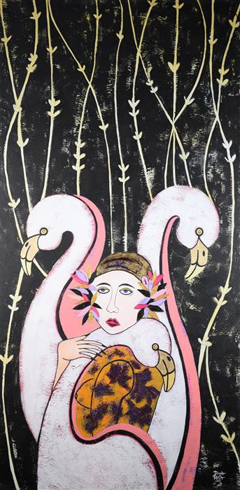 Original art for sale at UGallery.com | Woman and Flamingos by Diana Rosa | $2,550 | mixed media artwork | 48' h x 24' w | ..\art\mixed-media-artwork-Woman-and-Flamingos