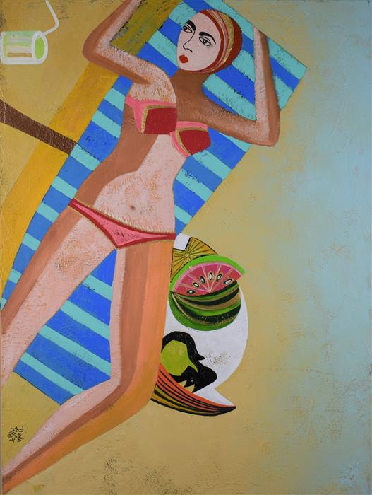 Original art for sale at UGallery.com | Vacation by Diana Rosa | $950 | acrylic painting | 24' h x 18' w | ..\art\acrylic-painting-Vacation