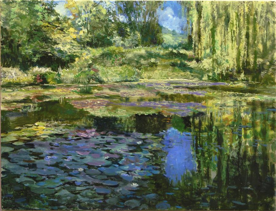Original art for sale at UGallery.com | Monet's Pond at Giverny by Onelio Marrero | $1,125 | oil painting | 18' h x 24' w | ..\art\oil-painting-Monet-s-Pond-at-Giverny