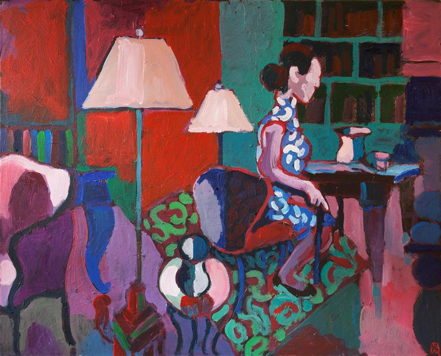 Original art for sale at UGallery.com | Interior with Seated Figure by Robert Hofherr | $1,275 | acrylic painting | 24' h x 30' w | ..\art\acrylic-painting-Interior-with-Seated-Figure