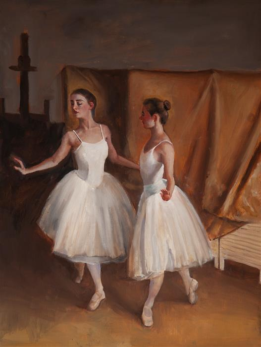 Original art for sale at UGallery.com | Two Dancers in Studio by John Kelly | $2,700 | oil painting | 24' h x 18' w | ..\art\oil-painting-Two-Dancers-in-Studio