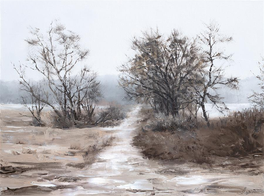 Original art for sale at UGallery.com | Winter Path by Jill Poyerd | $1,600 | oil painting | 18' h x 24' w | ..\art\oil-painting-Winter-Path