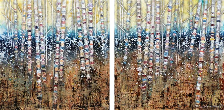 Original art for sale at UGallery.com | Endangered Confetti by Linda Klein | $2,300 | mixed media artwork | 24' h x 50' w | ..\art\mixed-media-artwork-Endangered-Confetti