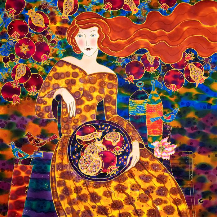 Original art for sale at UGallery.com | Pomegranate Harvest Time by Yelena Sidorova | $1,300 | mixed media artwork | 30' h x 30' w | ..\art\mixed-media-artwork-Pomegranate-Harvest-Time