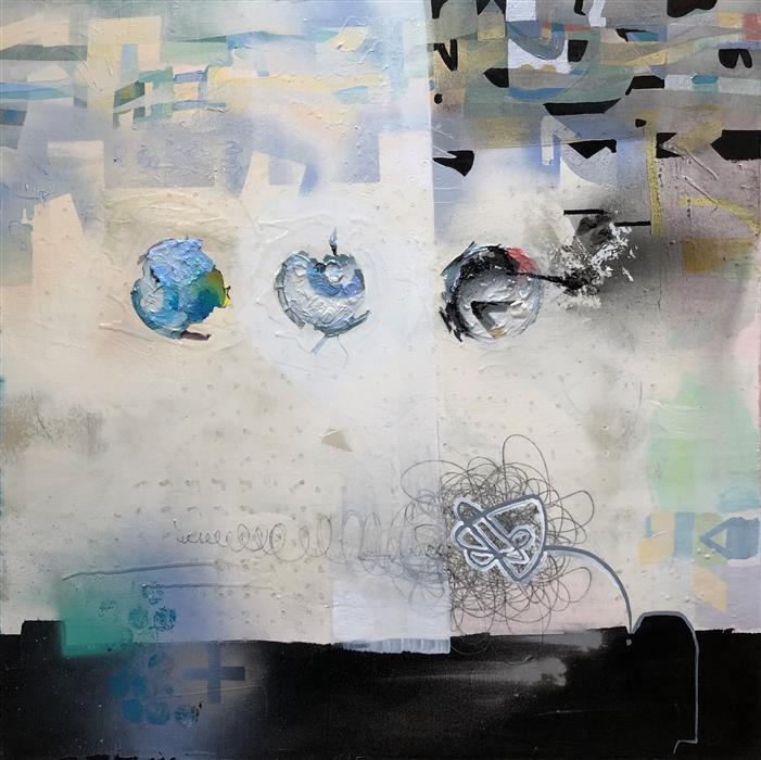 Original art for sale at UGallery.com | Possible Futures by Janine Etherington | $1,600 | mixed media artwork | 36' h x 36' w | ..\art\mixed-media-artwork-Possible-Futures