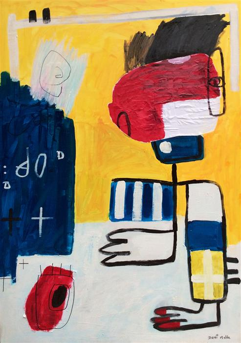 Original art for sale at UGallery.com | Goalkeeper by Daniel Malta | $2,100 | acrylic painting | 62' h x 43' w | ..\art\acrylic-painting-Goalkeeper