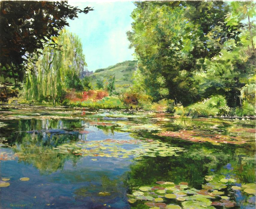 Original art for sale at UGallery.com | Monet's Pond at Giverny, View towards the Hill by ONELIO MARRERO | $1,650 |  | 24' h x 30' w | ..\art\oil-painting-Monet-s-Pond-at-Giverny-View-towards-the-Hill