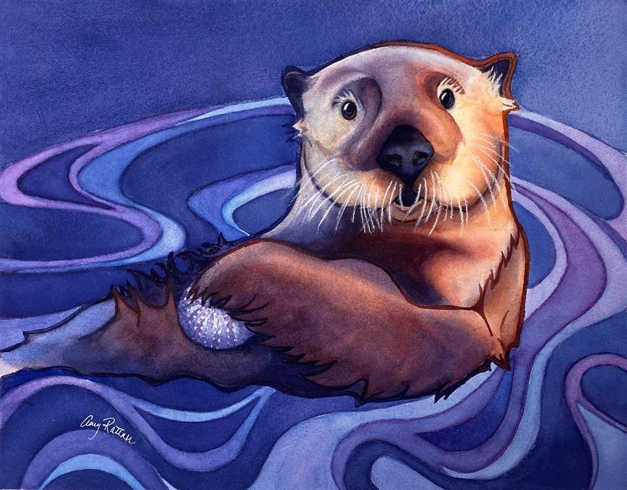 Original art for sale at UGallery.com | Sea Otter Snack by Amy Rattner | $800 | watercolor painting | 14' h x 18' w | ..\art\watercolor-painting-Sea-Otter-Snack