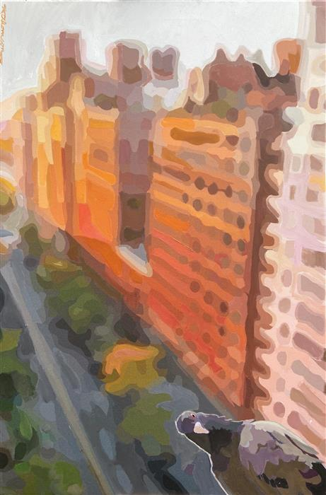 Original art for sale at UGallery.com | View of Central Park West by Keith Thomson | $1,025 | mixed media artwork | 30' h x 20' w | ..\art\mixed-media-artwork-View-of-Central-Park-West