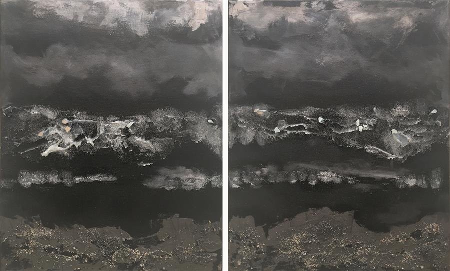 Original art for sale at UGallery.com | MoonGlow (Diptych) by Michele Morata | $1,900 | mixed media artwork | 20' h x 33' w | ..\art\mixed-media-artwork-MoonGlow-Diptych