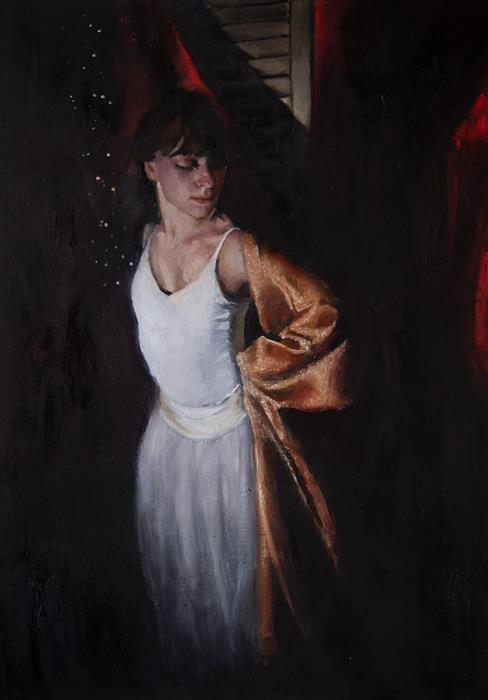 Original art for sale at UGallery.com | Dancer with Umber Cloth by John Kelly | $2,850 | oil painting | 25.5' h x 18' w | ..\art\oil-painting-Dancer-with-Umber-Cloth