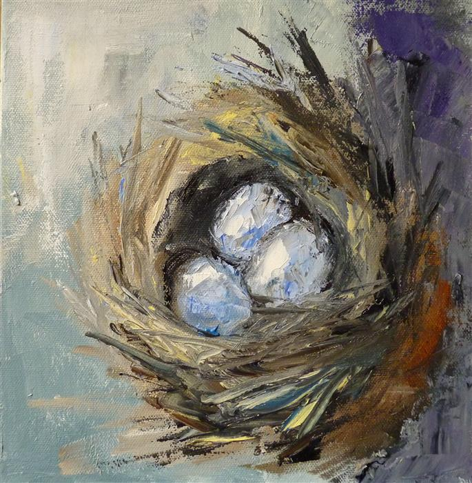 Original art for sale at UGallery.com | Nest by Judy Mackey | $375 | oil painting | 10' h x 10' w | ..\art\oil-painting-Nest-66106