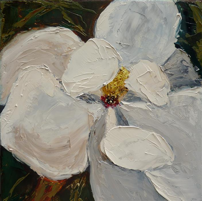 Original art for sale at UGallery.com | Magnolia by JUDY MACKEY | $325 |  | 8' h x 8' w | ..\art\oil-painting-Magnolia