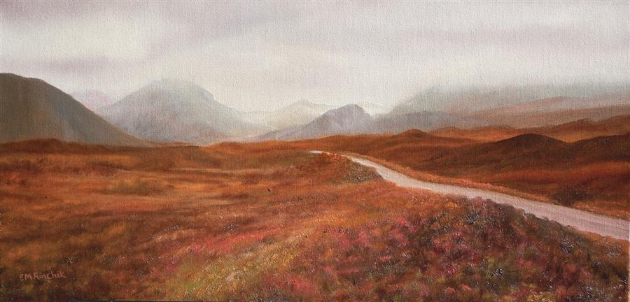 Original art for sale at UGallery.com | Return to the Road in Skye by Eugene Rinchik | $575 | oil painting | 12' h x 24' w | ..\art\oil-painting-Return-to-the-Road-in-Skye