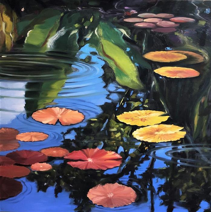 Original art for sale at UGallery.com | That Pond in My Dreams by Andres Lopez | $2,125 | oil painting | 36' h x 36' w | ..\art\oil-painting-That-Pond-in-My-Dreams