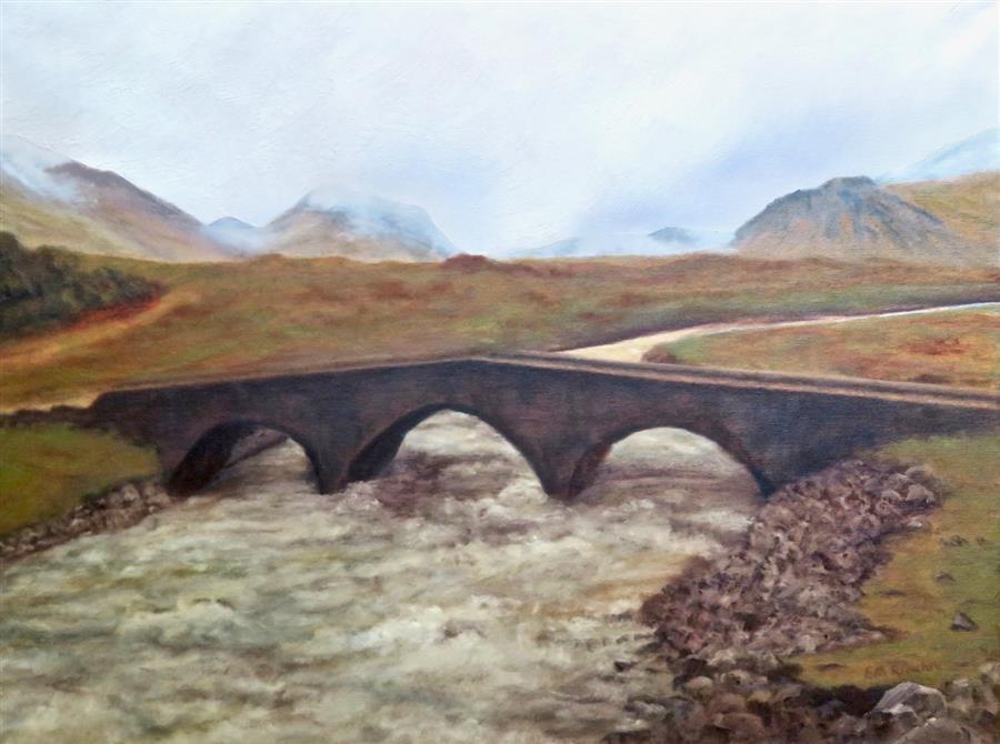 Original art for sale at UGallery.com | Skye Bridge by Eugene Rinchik | $675 | oil painting | 18' h x 24' w | ..\art\oil-painting-Skye-Bridge