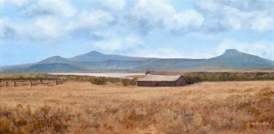 Original art for sale at UGallery.com | Ghost Ranch Haven for City Slickers by Eugene Rinchik | $575 | oil painting | 12' h x 24' w | ..\art\oil-painting-Ghost-Ranch-Haven-for-City-Slickers