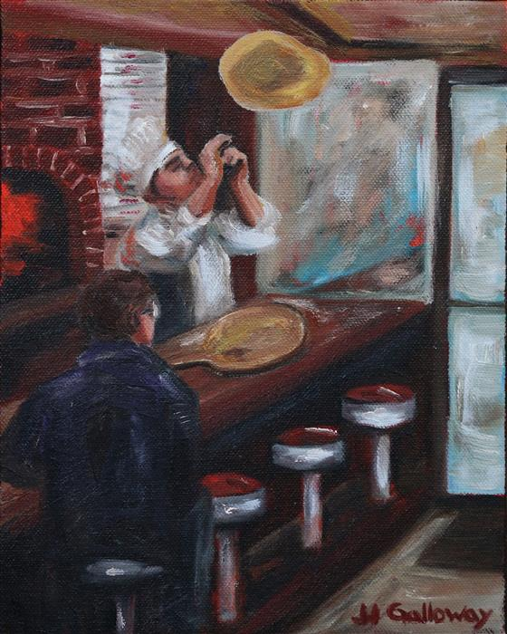 Original art for sale at UGallery.com | Pizza Parlor by JJ Galloway | $575 | oil painting | 10' h x 8' w | ..\art\oil-painting-Pizza-Parlor