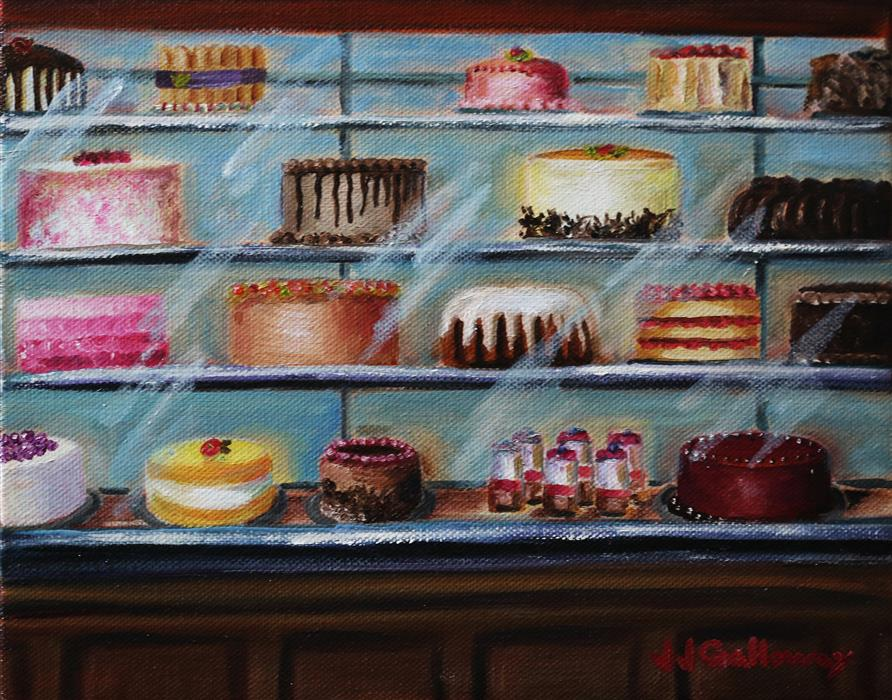 Original art for sale at UGallery.com | The Bakery Case by JJ Galloway | $325 | oil painting | 8' h x 10' w | ..\art\oil-painting-The-Bakery-Case