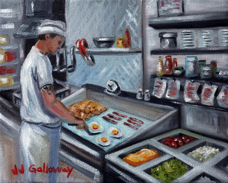 Original art for sale at UGallery.com | Diner Chef by JJ Galloway | $575 | oil painting | 8' h x 10' w | ..\art\oil-painting-Diner-Chef