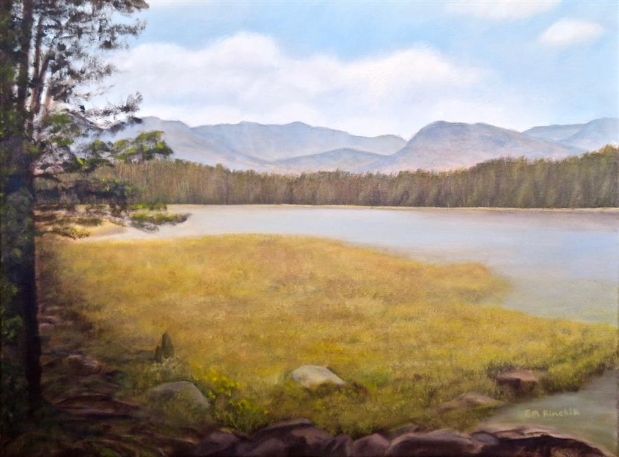 Original art for sale at UGallery.com | Bierstadt Lake Revisited by Eugene Rinchik | $675 | oil painting | 18' h x 24' w | ..\art\oil-painting-Bierstadt-Lake-Revisited