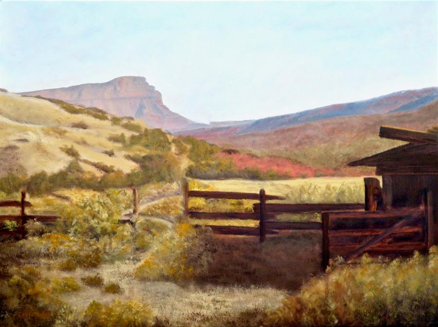 Original art for sale at UGallery.com | Capitol Reef Homestead by Eugene Rinchik | $675 | oil painting | 18' h x 24' w | ..\art\oil-painting-Capitol-Reef-Homestead