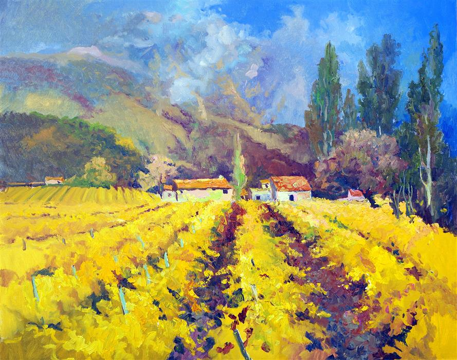 Original art for sale at UGallery.com | Fall Vineyards in France, Cloudy Day by Suren Nersisyan | $1,500 | oil painting | 24' h x 30' w | ..\art\oil-painting-Fall-Vineyards-in-France-Cloudy-Day