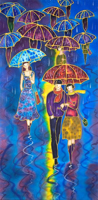 Original art for sale at UGallery.com | Rainy Street by Yelena Sidorova | $550 | mixed media artwork | 24' h x 12' w | ..\art\mixed-media-artwork-Rainy-Street