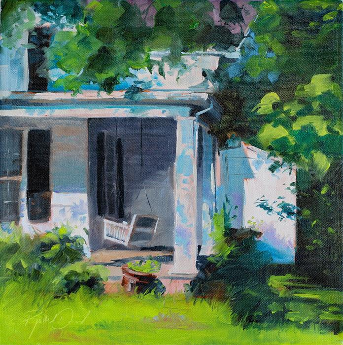 Original art for sale at UGallery.com | Front Porch Comfort #1 by RACHEL DOWD | $375 |  | 12' h x 12' w | ..\art\oil-painting-Front-Porch-Comfort-1