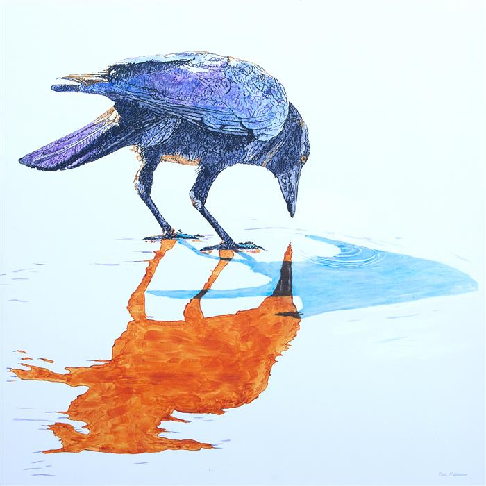 Original art for sale at UGallery.com | A Crow Reflecting on the Beach by Emil Morhardt | $2,625 | acrylic painting | 40' h x 40' w | ..\art\acrylic-painting-A-Crow-Reflecting-on-the-Beach