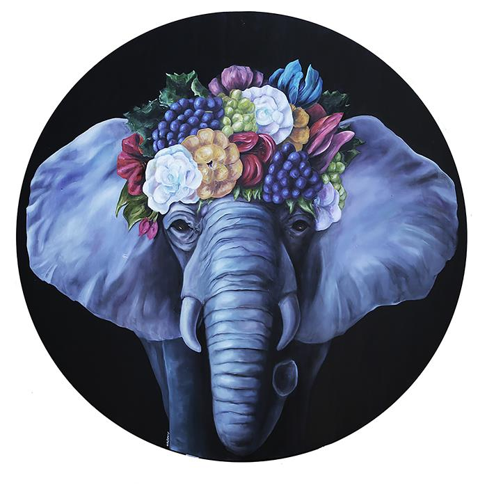Original art for sale at UGallery.com | Elephant Queen by JJ Galloway | $3,575 | oil painting | 40' h x 40' w | ..\art\oil-painting-Elephant-Queen