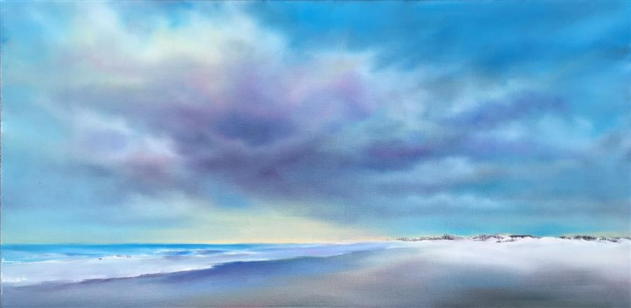 Original art for sale at UGallery.com | Morning Oceanside by Nancy Hughes Miller | $600 | oil painting | 12' h x 24' w | ..\art\oil-painting-Morning-Oceanside
