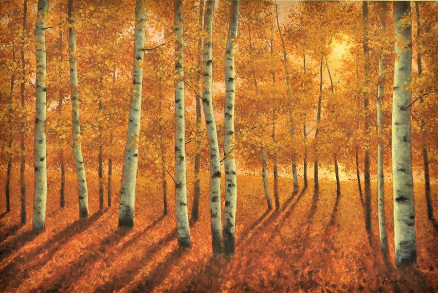 Original art for sale at UGallery.com | Gold Aspens by ROBERT PENNOR | $1,400 |  | 24' h x 36' w | ..\art\acrylic-painting-Gold-Aspens