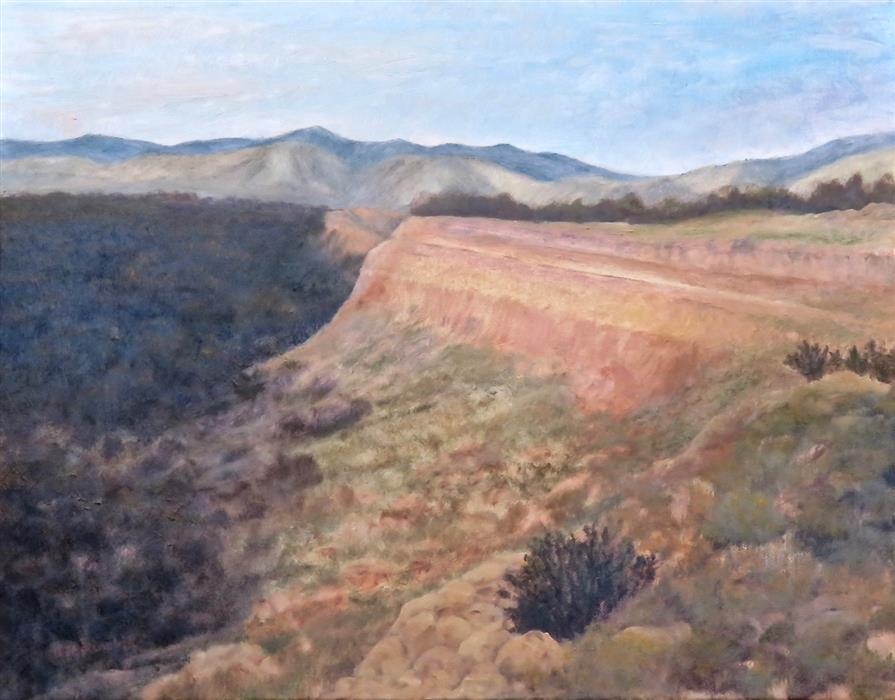 Original art for sale at UGallery.com | From Ghost Ranch Chimney Rock by Eugene Rinchik | $525 | oil painting | 14' h x 18' w | ..\art\oil-painting-From-Ghost-Ranch-Chimney-Rock