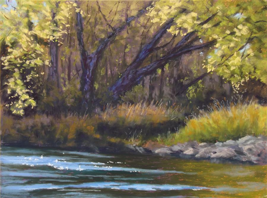 Original art for sale at UGallery.com | At the Edge of the Stream by Patricia Prendergast | $575 | pastel artwork | 12' h x 16' w | ..\art\pastel-artwork-At-the-Edge-of-the-Stream