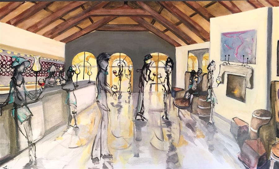 Original art for sale at UGallery.com | The Tasting Room by Patricia Fabian | $4,800 | acrylic painting | 36' h x 60' w | ..\art\acrylic-painting-The-Tasting-Room