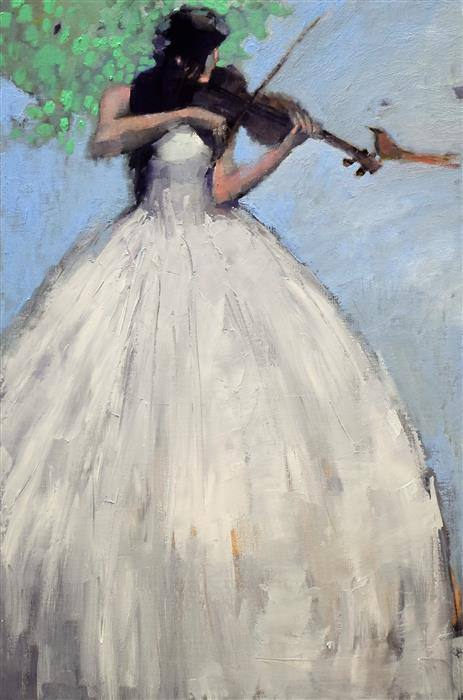 Original art for sale at UGallery.com | The Violinist by Mary Pratt | $2,200 | oil painting | 36' h x 24' w | ..\art\oil-painting-The-Violinist