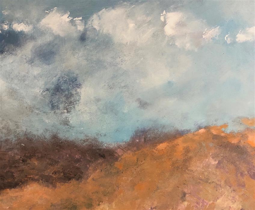Original art for sale at UGallery.com | In the Clouds by Patricia Fabian | $1,950 | mixed media artwork | 20' h x 24' w | ..\art\mixed-media-artwork-In-the-Clouds