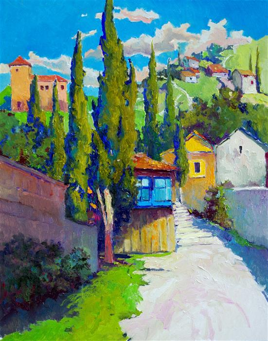 Original art for sale at UGallery.com | Sunny Day and Cypress Trees, Mediterranean Landscape by Suren Nersisyan | $900 | oil painting | 30' h x 24' w | ..\art\oil-painting-Sunny-Day-and-Cypress-Trees-Mediterranean-Landscape