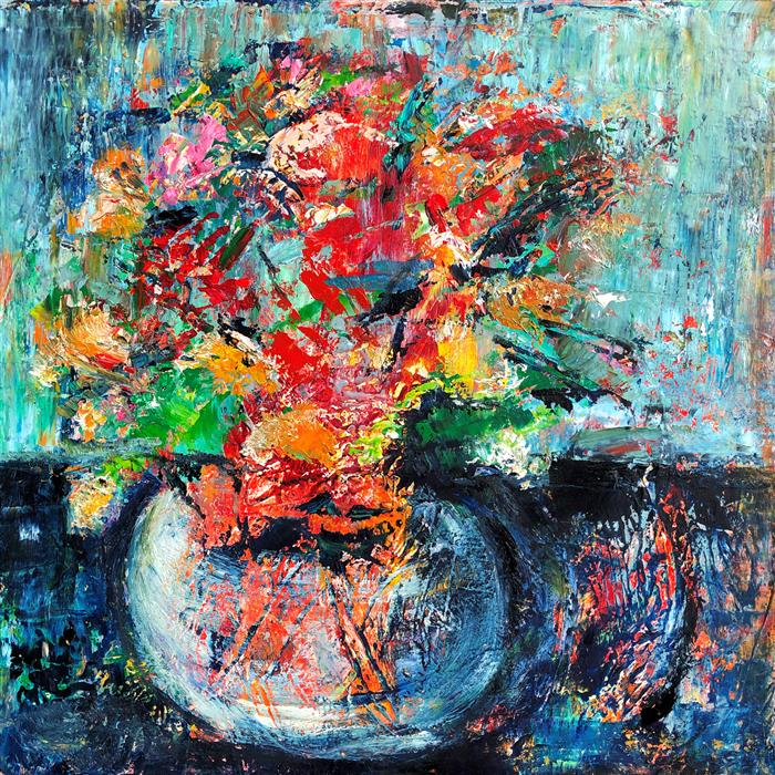 Original art for sale at UGallery.com | Floral Splashes by Sharon Sieben | $850 | oil painting | 20' h x 20' w | ..\art\oil-painting-Floral-Splashes
