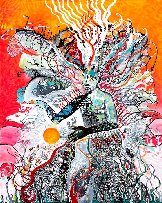 Original art for sale at UGallery.com | Cosmic Consciousness by Cameron Limbrick | $11,000 | acrylic painting | 60' h x 48' w | ..\art\acrylic-painting-Cosmic-Consciousness