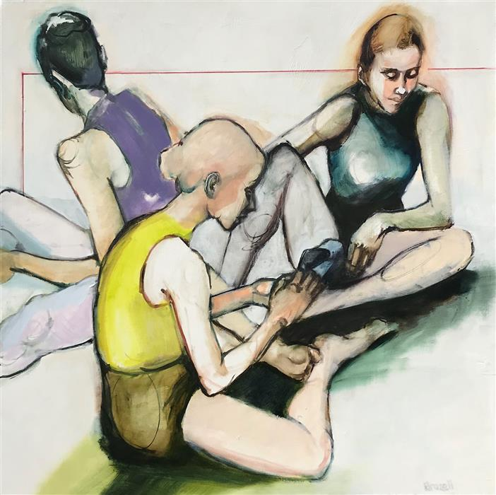 Original art for sale at UGallery.com | Putting on Pointe Shoes by Liz Brozell | $1,200 | oil painting | 30' h x 30' w | ..\art\oil-painting-Putting-on-Pointe-Shoes