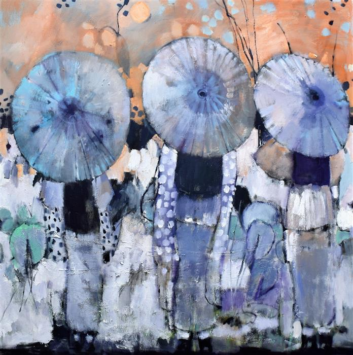 Original art for sale at UGallery.com | Geishas, Parasols and Patterns by Mary Pratt | $4,325 | oil painting | 48' h x 48' w | ..\art\oil-painting-Geishas-Parasols-and-Patterns
