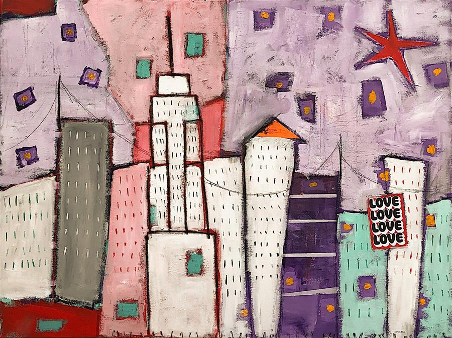 Original art for sale at UGallery.com | New York Is always a Good Idea by Rick Hamilton | $3,200 | mixed media artwork | 36' h x 48' w | ..\art\mixed-media-artwork-New-York-Is-always-a-Good-Idea