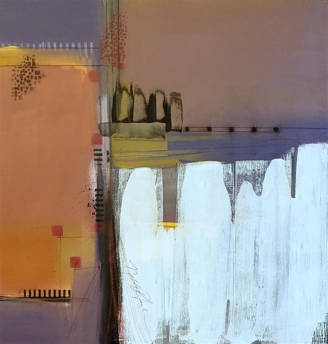 Original art for sale at UGallery.com | Up to the Bridge by Nicholas Foschi | $1,050 | mixed media artwork | 24' h x 24' w | ..\art\mixed-media-artwork-Up-to-the-Bridge